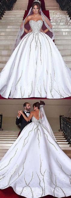 Brilliant Satin Sweetheart Neckline Natural Waistline Ball Gown Wedding Dress With Beadings