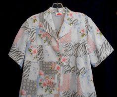 Alia Size 12 Floral Polyester Top Collar Button Front Short Sleeve Vest shape #Alia #ButtonDownShirt #Career