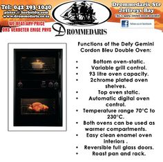 Don't let the idea of cooking dinner get you down after a hard day's work. The Defy Gemini Cordon Bleu Double Oven can now be purchased at Drommedaris, this newer model will make serving a warm meal less time consuming. #appliances #homeimprovement
