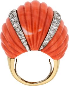 Diamond Coral Ring Designer M Christoff Lovely Luster Gemstone