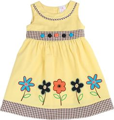 Lele for Kids Yellow Gingham-Accent Floral A-Line Dress - Toddler & Girls Frocks For Girls, Little Girl Outfits, Toddler Girl Dresses, Little Girl Dresses, Kids Outfits, Toddler Girls, Baby Girl Dress Patterns, Baby Dress Design, Skirt Patterns
