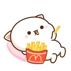 Anna posted this on IG because I love french fries. Cute Bear Drawings, Cute Animal Drawings Kawaii, Cute Cartoon Drawings, Cartoon Cats, Cute Cartoon Images, Cute Love Cartoons, Cute Cartoon Wallpapers, Cute Anime Cat, Cute Cat Gif