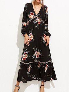Deeper and Deeper Plunging Floral Dress – FIREVOGUE