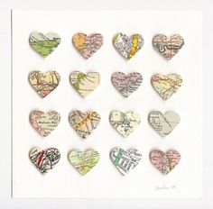Cut hearts from maps of places you love.