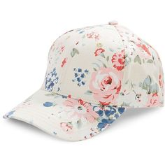 Bcbgeneration Floral Canvas Baseball Cap (€25) ❤ liked on Polyvore featuring accessories, hats, whisper white, brimmed hat, canvas hat, white brim hat, ball cap and floral hat