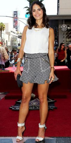Look of the Day › August 27, 2013 WHAT SHE WORE At the Hollywood Walk of Fame, Jordana Brewster supported pal Vin Diesel in a summery Three Floor ensemble, pairing a white sleeveless top with a black-and-white printed skirt with a flouncy hem. For accessories, she selected gold jewelry, including a Carla Amorim ring, a black studded minaudiere and Pierre Hardy ankle-strap heels.