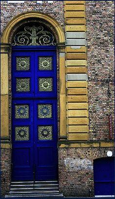 Blue Scarborough Market door in North Yorkshire, England. ..rh