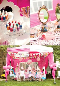 this princess party is so adorable... they decorate their cupcakes, too!