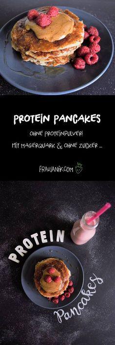 Protein Pancakes/ Pfannkuchen- ohne Proteinpulver, mit Magerquark & ohne Zucker... So einfach und schnell gemacht! Und sehr gesund z.B. als Frühstück oder Snack für Zwischendurch! :-) Die ganze Masse beinhaltet ca. 30g Protein.