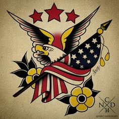 did this Sailor Jerry Piece during voting day cause 'Merica Traditional Usa Tattoo, Traditional Tattoo Flash Art, Traditional Tattoo Old School, American Traditional, Neo Traditional, Dragon Tattoo Back Piece, Dragon Sleeve Tattoos, Compass Tattoos Arm, Old School Tattoo Sleeve