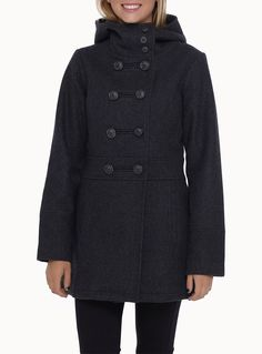 Exclusively from Twik     Comfortable coat with a buttoned high-neck and built-in hood   Felt wool fleece structured by cut and sewn pieces   Thick satiny lining   Welt front pockets   The model is wearing size small
