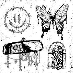Sketch Tattoo Design, Tattoo Sketches, Tattoo Drawings, Tattoo Designs, Creepy Tattoos, Emo Tattoos, Unique Tattoos, Small Tattoos, Occult Tattoo