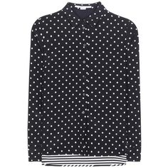 Stella McCartney Polka-Dot and Striped Silk Blouse (1 145 AUD) ❤ liked on Polyvore featuring tops, blouses, black, stripe blouse, polka dot tops, dot top, polka dot silk blouse and stripe top