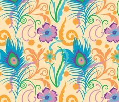 Floral Peacock fabric by desirebleu on Spoonflower - custom fabric