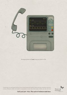 A Simple Phone Call Can Bring You Back To Life - Print Campaign for TurnAround's help telephone line for domestic violence and sexual abuse victims.