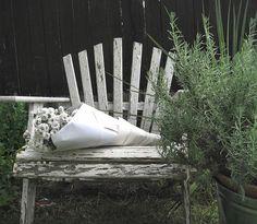 shabby chair in garden