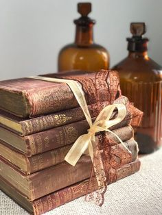 ♥♥ Small Brown and Gold Books - Brown and Gold Gold Home Decor - Interior Design Staging - Custom Sourced Books - Shabby Chic Decor ♥♥ A stack of small BROWN vintage books with Gold Foil accents tied with Pretty matching ribbons, for use as home decor or interior staging, photo props