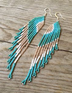 Seed Bead Earrings Long Fringe Earrings by EmeraldArtDesigns