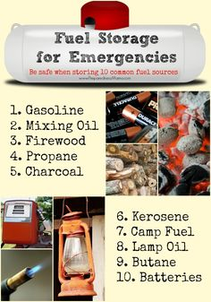Learn the best way to store 10 different fuel souces for emergencies | PreparednessMama