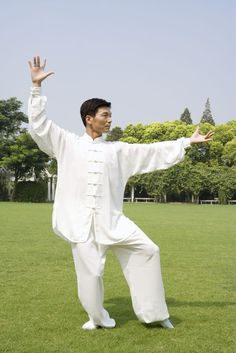 He is practicing Qi Gong. The most popular style in Qi Gong.