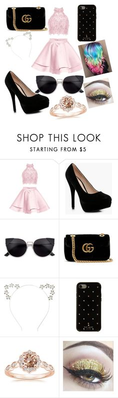"""Untitled #22"" by tsundere-otaku on Polyvore featuring Alyce Paris, Boohoo, Gucci and Kate Spade"