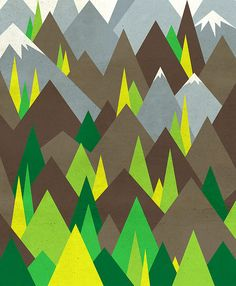 the colour combo and integration of trees and mountains for mountain mural... Start at bottom of wall and fade into light grey colour- wider mountains, though...