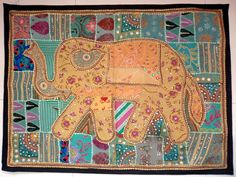 HANDMADE ELEPHANT BOHEMIAN PATCHWORK WALL HANGING EMBROIDERED TAPESTRY INDIA X02…
