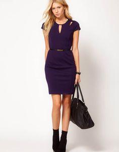 navy-blue-business-office-dress - fashjourney.com