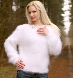 White Hand Knit Mohair Sweater Fuzzy Soft Boatneck Fluffy Top by SUPERTANYA S M | eBay