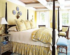 Benjamin Moore Hawthorne Yellow walls, Super White trim - Yellow bedroom, via RoomLust Pretty Bedroom, Dream Bedroom, Home Bedroom, Bedroom Decor, Bedroom Photos, Bedroom Ideas, Master Bedroom, Hawthorne Yellow, French Country Bedrooms