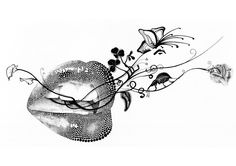 Rikke Jorgensen #lips #beauty #butterflies #Illustration #rikkejorgensen #blackandwhite
