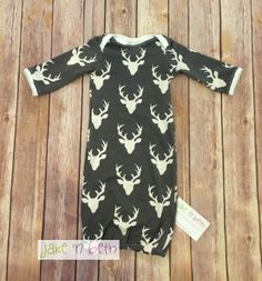 A personal favorite from my Etsy shop https://www.etsy.com/listing/501942992/deer-baby-gown-knot-hat-and-no-scratch