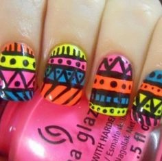 Tribal nails may very well be my favorite design Acrylic Nail Art, Gel Nail Art, Nail Polish, Colorful Nail Designs, Toe Nail Designs, Tribal Nails, Great Nails, Nail Inspo, Toe Nails