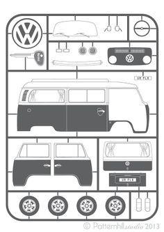 VW Bay Camper 'Kit Print' Find VW parts at www.breakeryard.co.uk save up to 85%.