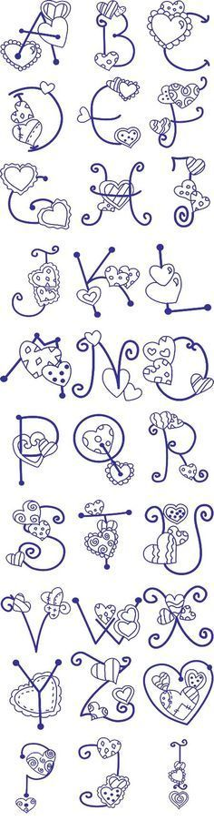 Free Embroidery Designs, Sweet Embroidery, Designs Index Page Hand Lettering Alphabet, Doodle Lettering, Creative Lettering, Lettering Styles, Calligraphy Letters, Typography, Machine Embroidery Designs, Embroidery Stitches, Embroidery Patterns