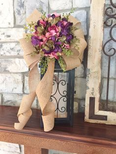 Hydrangea Lantern Swag ~Pink Passion~Wired Edge Burlap Ribbon, Swag, Wreath, Decoration, Holiday or Every Day~Timeless Floral Creations Fall Lanterns, Christmas Lanterns, Lanterns Decor, Lantern Crafts, Lantern Diy, Hydrangea Arrangements, Lantern Centerpieces, Burlap Ribbon, Summer Wreath