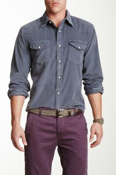Stitched Canyon Cord Shirt by True Grit in Vintage Chambray