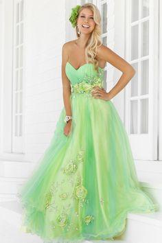 Gelb-grünes Kleid mit Rosen besetzt