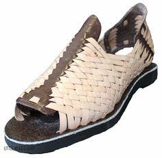 Men's OPEN Toe Huarache Sandals NATURAL BROWN STRIPED MEXICAN HUARACHES #Handmade #Huaraches