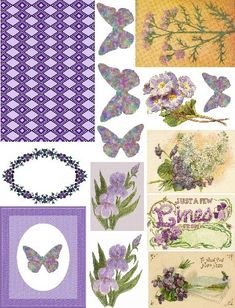 Free Collage Sheets by Art and imagesbykim: Free Collage Sheet Color Theme Lilac Mauve Purple