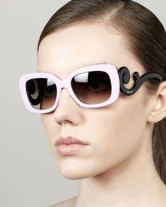Prada Baroque Colorful Sunglasses, Pink/Black from Neiman Marcus on shop.CatalogSpree.com, your personal digital mall.
