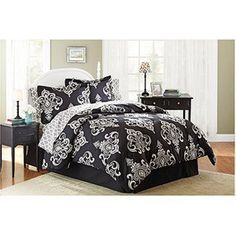 Black Cream Traditional Damask Queen Comforter Set (8pc Bed in a Bag) by HG. $103.00. Machine wash for easy care.. Bed skirt platform is 100 percent olefin. Comforter, shams, sheet set and bed skirt drop are 100 percent polyester microfiber. This Damask Bedding Set transforms any bedroom into a luxurious sanctuary. The comforter and sham feature bold and elegant designs. Soft, printed sheets and a solid bed skirt complete the look. Queen set includes: ONE comforte...