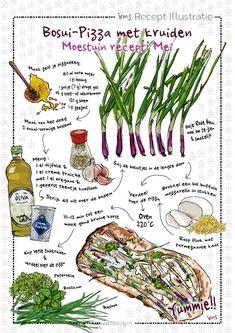 Bosui pizza: moestuin recept mei van irms. Dit geïllustreerde recept is te downloaden op irmsblog. Zelf pizza maken is leuk en eenvoudig. Met deze moestuin ingrediënten is het een een echt lente recept. Recept illustraties maken zijn de passie van Irms. Wil je je eigen recept laten illustreren? Neem contact op via irmsblog.nl. #recepten #illustratie #illustration #foodillustration #recipe #recipeoftheday #giveaway #download #homemade Nutrition Guide, Nutrition Plans, Motivation Wall, Cycling Motivation, Fitness Motivation, Savory Tart, Food Journal, Pancakes And Waffles, Food Drawing