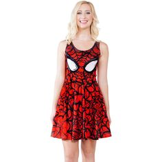 Red Spiderman Printed Skater Dress ($20) ❤ liked on Polyvore featuring dresses, red, print dress, mixed print dress, sleeveless dress, red pattern dress y red day dress