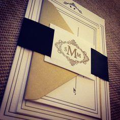 Black and Gold Monogram Letterpress wedding invitation - black satin ribbon belly band.