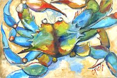 """Carole Foret's """"Pincher"""" available at The Little Green Store #art #beach"""