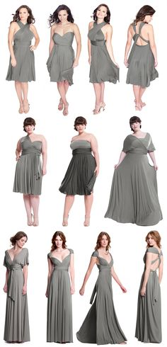 Introducing the Sakura Convertible Dresses in Dove Grey! The perfect medium grey dress. Just pick the color & your bridesmaids can pick their own bridesmaid dress style.