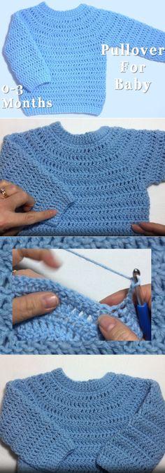 DIY Basic Crochet Baby Sweater - FREE Pattern / Tutorial ...