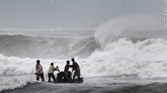 Cyclone Hudhud made landfall on India's eastern coast on Sunday. Six people have died and the storm has also uprooted trees and utility poles. More than 200,000 people were evacuated a day before, officials said.
