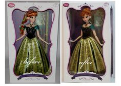 Limited Edition Anna or Arendelle OOAK doll before and after transformation in her original box. Full facial repaint, new hairstyle. Original outfit. She´s still up on ebay for 3 days , search for item-number 261373029068